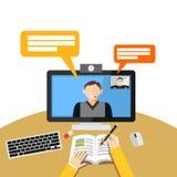 Videoanruf oder Konferenz auf Computer Netz binar oder Netztutoriumkonzept lizenzfreie abbildung