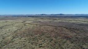 Videoaufnahmen des Sandes und der Wiese, die im Wind in der Kalahari-Region von Südafrika durchbrennen stock footage