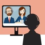 Videobaangesprek Ambtenaar en kandidaat royalty-vrije illustratie