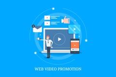 Videobevordering en marketing op Web, digitale video reclame die, zakenman videoinhoud bevorderen Vlakke ontwerp vectorbanner vector illustratie