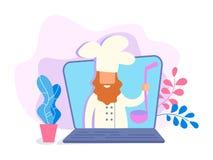 Videoblogger hef ¡ Ð представляет кулинарные видео о варить delici иллюстрация вектора