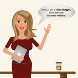 Videobloggermeisje Illustratie de bedrijfs van Vebinar royalty-vrije illustratie