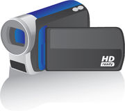 Videocámara azul del hd del vector Imagen de archivo libre de regalías