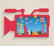 Videocámara con los edificios de la atracción turística Foto de archivo libre de regalías