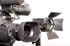 Videocámara y luz fotos de archivo