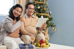 Videocalling on Christmas day stock photos