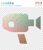 Videocam alt polygonal symbol. Bizarre mosaic style symbol. exotic low poly style. Modern design. videocam alt icon for infographics or presentation Royalty Free Stock Image