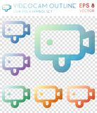 Videocam outline geometric polygonal icons. Brilliant mosaic style symbol collection. Classy low poly style. Modern design. Videocam outline icons set for Royalty Free Stock Image