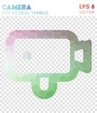 Videocam outline polygonal symbol. Bizarre mosaic style symbol. exquisite low poly style. Modern design. videocam outline icon for infographics or presentation Royalty Free Stock Images
