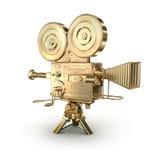Videocamera dell'oro su un bianco Immagini Stock Libere da Diritti