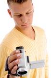 Videocamera di di gestione maschio Fotografie Stock