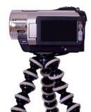 Videocamera di Handycam con affissione a cristalli liquidi nera sul treppiedi Fotografia Stock