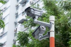 Videocamera di sicurezza all'aperto del CCTV Fotografia Stock Libera da Diritti