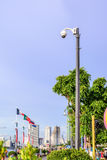 Videocamera di sicurezza di vista aerea per il posto di viaggio del monitor in città Fotografia Stock Libera da Diritti
