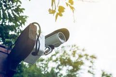 Videocamera di sicurezza o CCTV Fotografia Stock