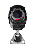 Videocamera di sicurezza su priorità bassa bianca Fotografia Stock