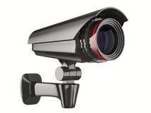 Videocamera di sicurezza su priorità bassa bianca. 3D isolato Fotografia Stock Libera da Diritti