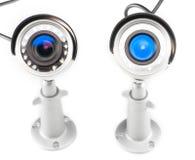 Videocamera di sorveglianza di colore di notte & di giorno isolata su fondo bianco Fotografie Stock Libere da Diritti