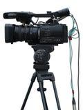 Videocamera digitale dello studio professionale della TV isolata su bianco Immagini Stock