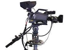 Videocamera digitale dello studio professionale della TV su bianco Immagini Stock Libere da Diritti