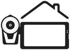 Videocamera and house silhouette with space for te. Symbol home video - videocamera and house silhouette with space for text Stock Images
