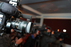 Videocamera and journalists Royalty Free Stock Photo