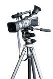 Videocamera portatile su un treppiedi Fotografie Stock Libere da Diritti
