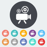 Videocamera. Single flat icon on the circle. Vector illustration Stock Photo