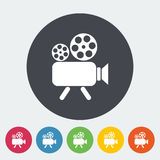 Videocamera. Single flat icon on the circle. Vector illustration Royalty Free Stock Images
