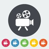 Videocamera Vector Flat Icon. Videocamera. Single flat icon on the circle. Vector illustration Stock Photo