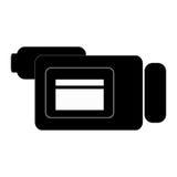 Videocamera , Vector illustration over white background. Black videocamera sideview  illustration isolated over white Stock Images