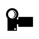 Videocamera , Vector illustration over white background. Black small modern videocamera frontview  illustration isolated over white Stock Image