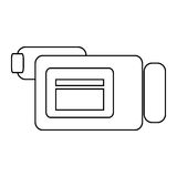 Videocamera , Vector illustration over white background. Simple black line videocamera sideview  illustration isolated over white Royalty Free Stock Image