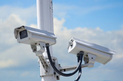 Videocamere di sicurezza esterne Fotografia Stock Libera da Diritti