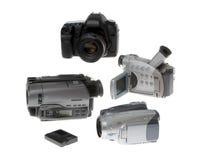 Videocamere moderne isolate su bianco Fotografia Stock Libera da Diritti
