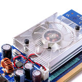 Videocard simple d'ordinateur sur le fond blanc Image stock