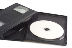 Videocassette and digital versatile disc Royalty Free Stock Images