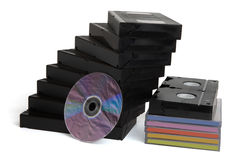 Videocassettes and dvd disk Royalty Free Stock Photo