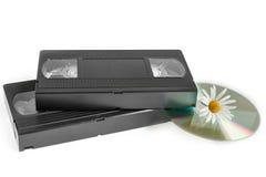 Videocintas y disco laser fotografía de archivo