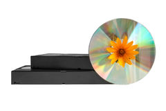 Videocintas y disco laser foto de archivo