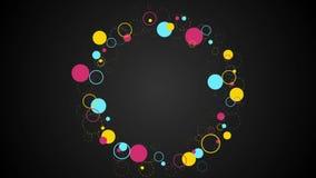 Videoclip abstracto de los inconformistas de los círculos retros coloridos