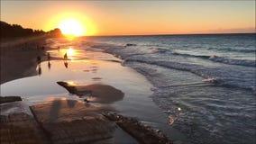 Videoclip di lasso di tempo della spiaggia sabbiosa tropicale con la gente durante il tramonto stock footage