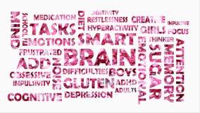 Videoclip met het bewegen van woorden over hersenen vector illustratie