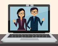 Videoconference on laptop in office Stock Image