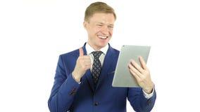 Videoconferentie op Tablet, Bedrijfsbespreking, online mededeling stock video