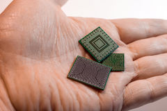 Videocontroller, northbridge and southbridge bga chips stock image