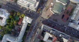 Videodielengte op quadrocopternadir wordt geschoten van Kiev stock video