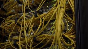 Videoen inneh?ller ov?sen Stänger sig optiska kablar för gul fiber upp på Datacenter Telekommunikationbredband Blinkgräsplan ledd stock video