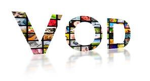 Videoen på - begära abstrakt text, tvbegrepp Arkivfoto