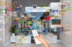 Videoen på - begära VOD service på TV royaltyfria bilder